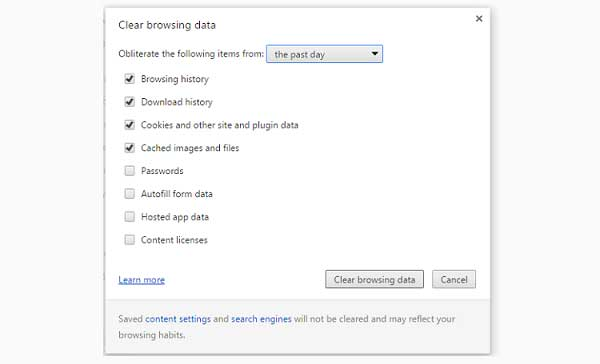 how to delete browsing cache and history